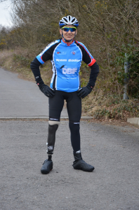 Maggz modelling the Team Bader Cycling kit she designed